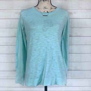 J.Crew Turquoise Cotton Long Sleeve Top